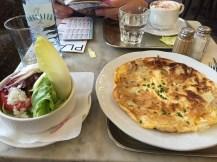 Egg pancake with side salad
