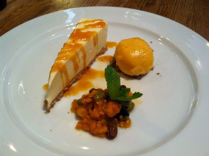 """Cloudberry cheesecake, sorbet, and cloudberry """"cream"""" (which wasn't really cream)"""