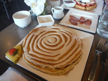 Cinnamon roll pancakes and Portuguese sausage