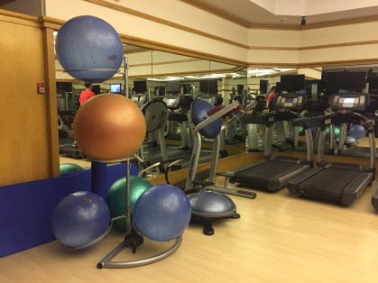 Yoga balls and mats next to treadmills