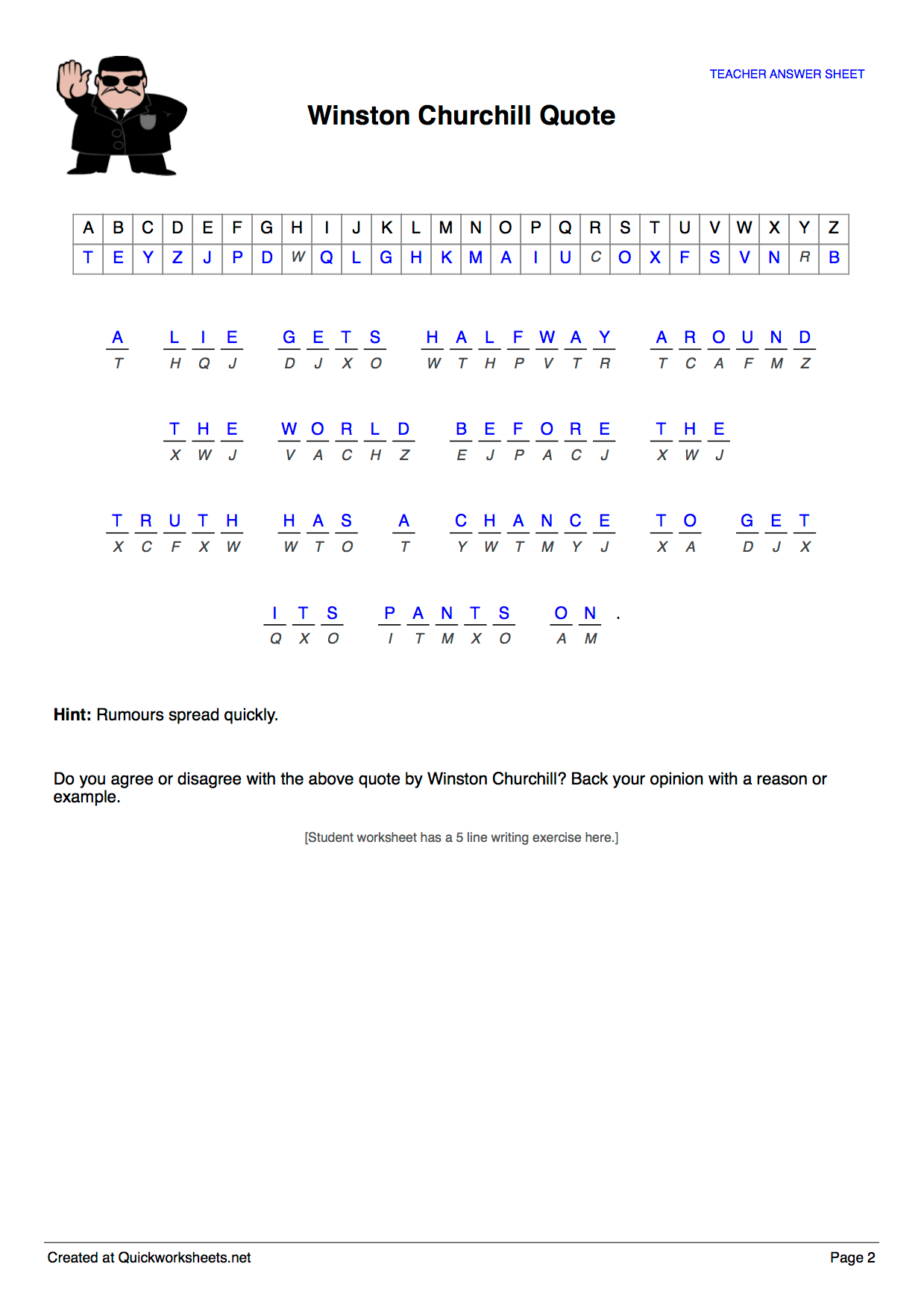 Cryptogram Puzzle Worksheet Maker