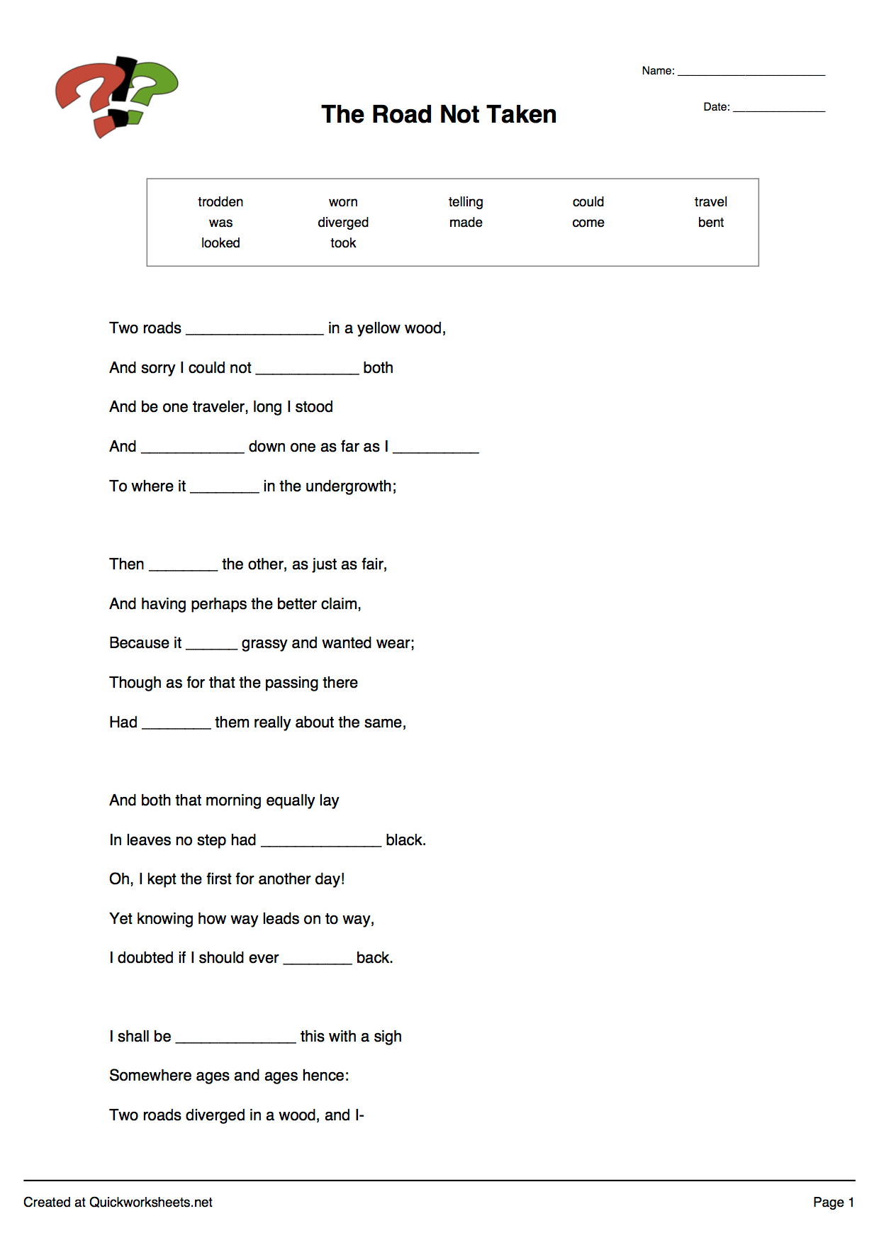 Blank Spelling Worksheet 25 Spaces