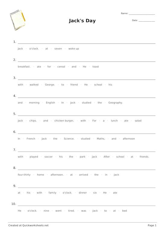 Sentence Scramble  Sentence Jumble Worksheet Generator