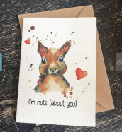 Squirrel valentine's card by PuddlePaints