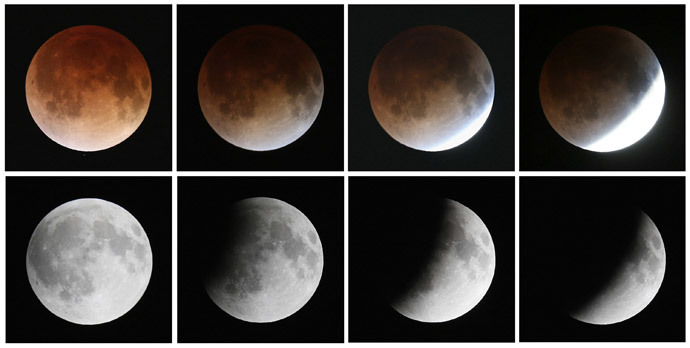 http://rt.com/news/moon-eclipse-earth-event-592/ This composite image shows a sequence, from bottom left to top left, of the moon's transition during a total lunar eclipse on April 15, 2014 in Miami, Florida. (Joe Raedle / Getty Images / AFP)