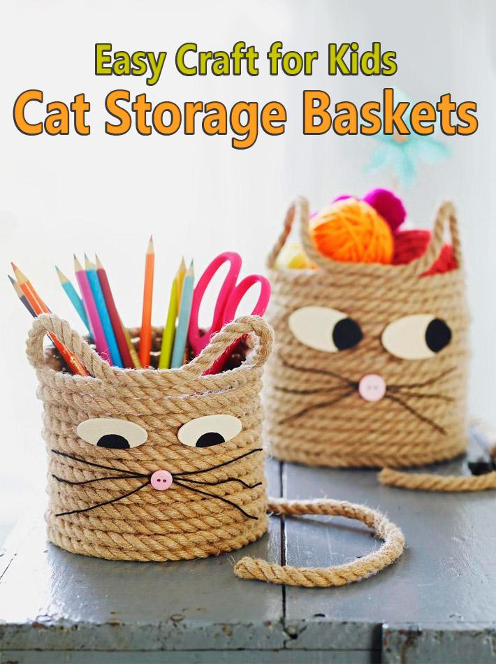 Easy Craft for Kids - Cat Storage Baskets - Quiet Corner