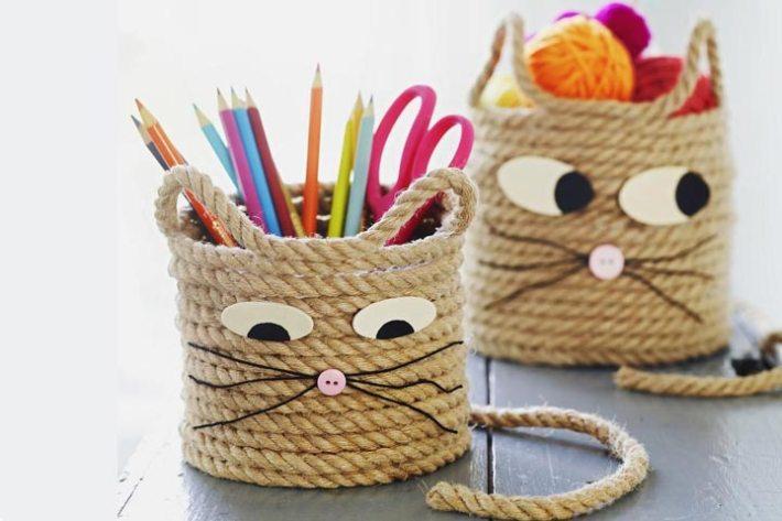 Easy Craft for Kids – Cat Storage Baskets