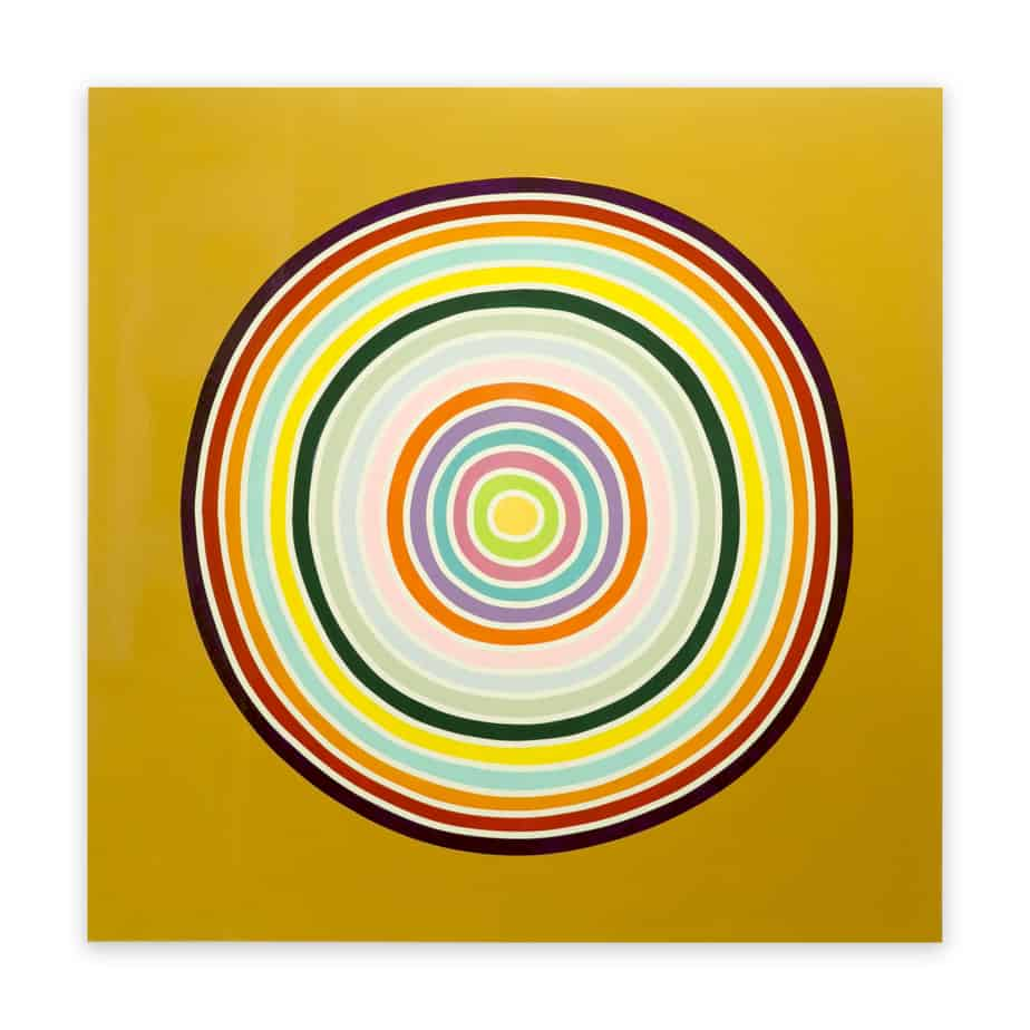 "Ron Agam, ""Galactic Gold Rainbow"", 2016, acrylic on wood, 48 x 48 in"
