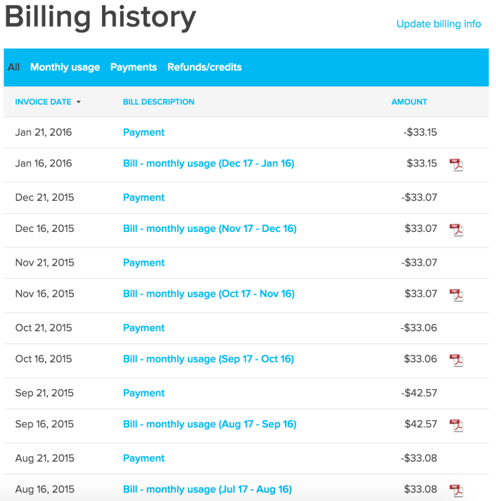 Ting Review Billing History