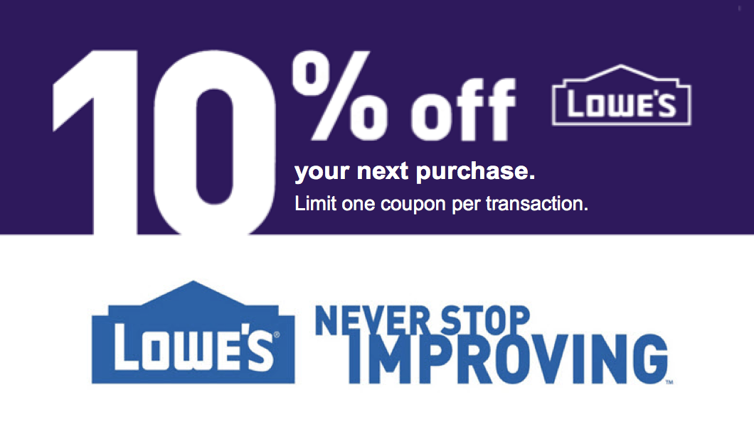Lowes 10 OFF Printable Coupon Delivered Instantly to your Inbox  Quik Coupons