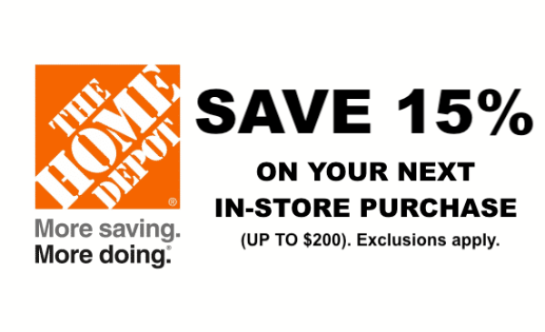 Home Depot 15% Off Printable Coupon Delivered Instantly to ...