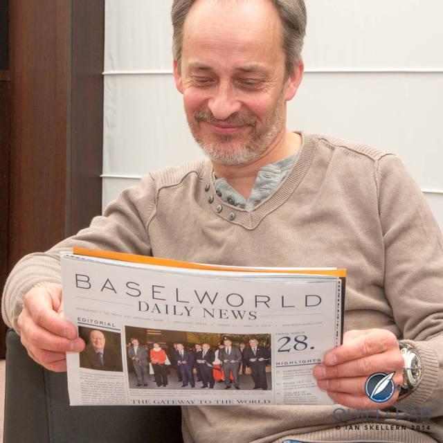 Vianney Halter wearing his Deep Space Tourbillon at Baselworld 2014