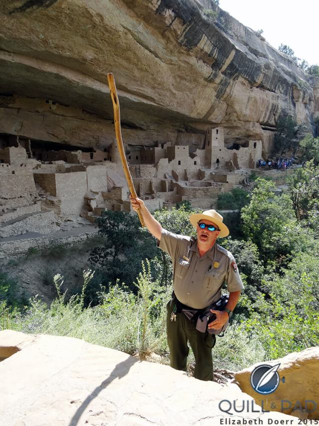 Ranger Dave Hursey explaining aspects of daily life at Mesa Verde National Park's Cliff Palace, a village built by the ancient Ancestral Puebloans
