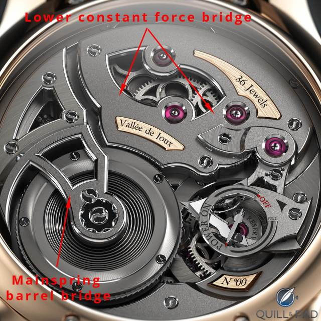 This image shows where two of the components visible on the back of the movement fit on Romain Gauthier's Logical One