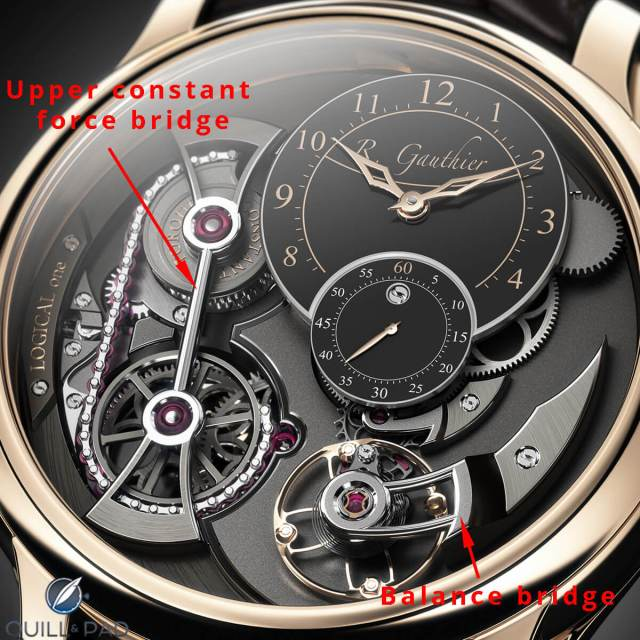 This image shows where two of the components visible on the dial side fit in Romain Gauthier's Logical One