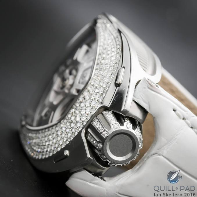 The over-sized diamond-set crown of the Urwerk UR-106 Lotus White