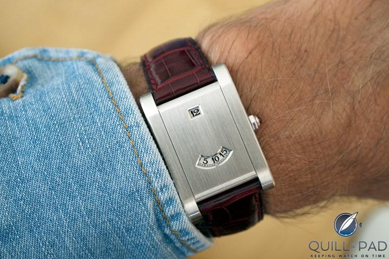 Cartier Tank à Guichets in platinum on the wrist
