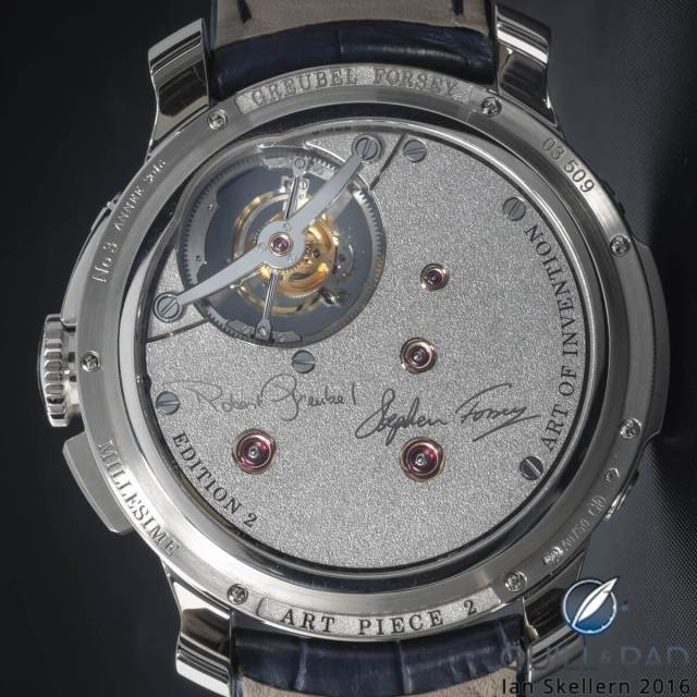 View through the display back to the artists' signatures on the back of the Greubel Forsey Art Piece 2 Edition 2