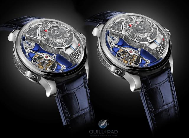 Spot the difference: follow the red hands, on the left the minute display of the Greubel Forsey Art Piece Edition Historique is closed with only the hour indicator visible at 10 o'clock; on the right the minute display is open and pointing to 10. The time is 10 minutes past 10 o'clock