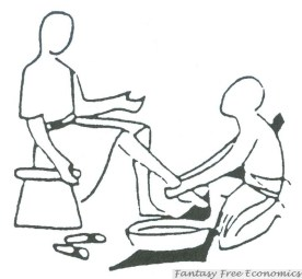 Servant School logo - washing feet