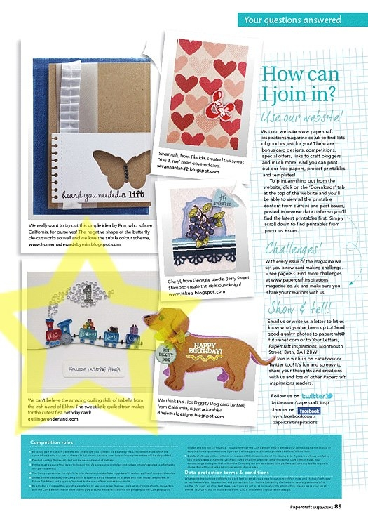 Papercraft inspirations magazine - featured my quilled