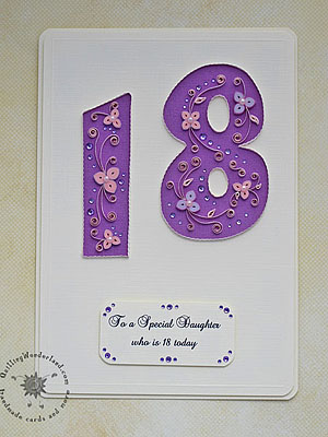 18th Birthday Card Pink And Purple Floral Handmade Card