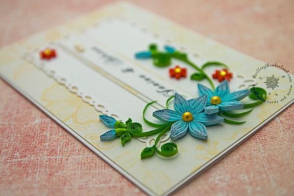 Wedding card blue flowers