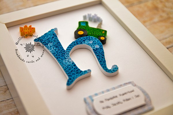 Quilled Blue Letter H Green Tractor Boys Room Decoration