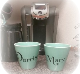 Aqua coffee cups with black vinyl