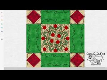 Free Motion Quilting Ideas Framed Christmas Wreath Variation #3