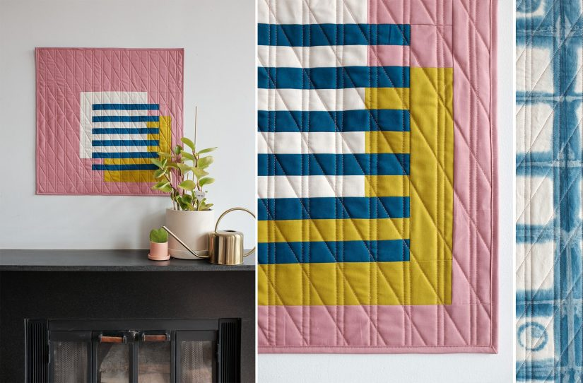 Pink, White, yellow and blue modern quilt wall hanging