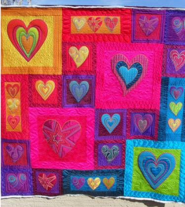 Hearts Art Quilt Quilting