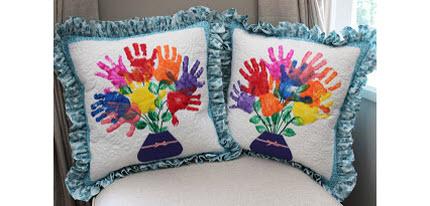 quilted hand print pillows teacher gift