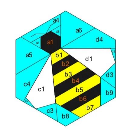 bee hexie pattern
