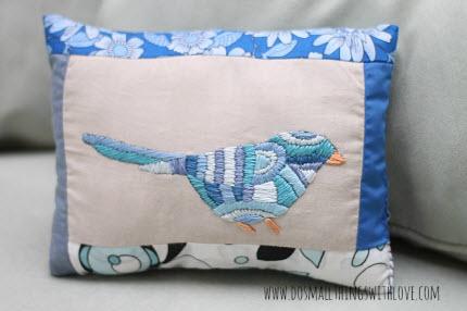 stitched birdie pillow