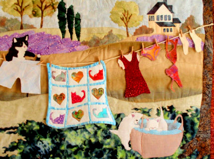 Spring Clothesline With Kittens Quilt Quilting