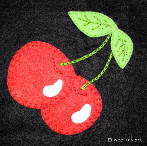 Cherries applique with embroidery