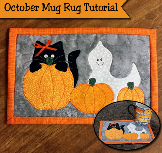 Freebie Halloween Mug Rug Pattern Tute Quilting