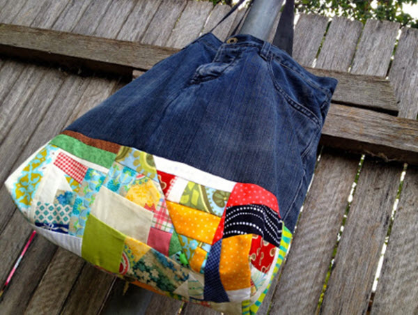 Tutorial Improv Patchwork Denim Bag Quilting