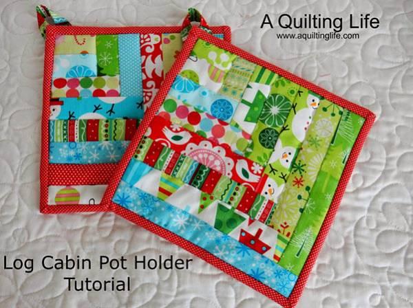 Log Cabin Pot Holder tutorial Christmas