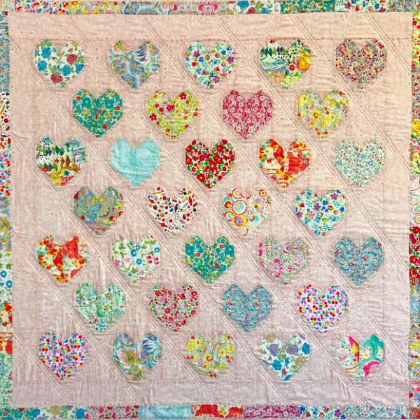 Tutorial Strawberry Thief Hearts Quilt Quilting