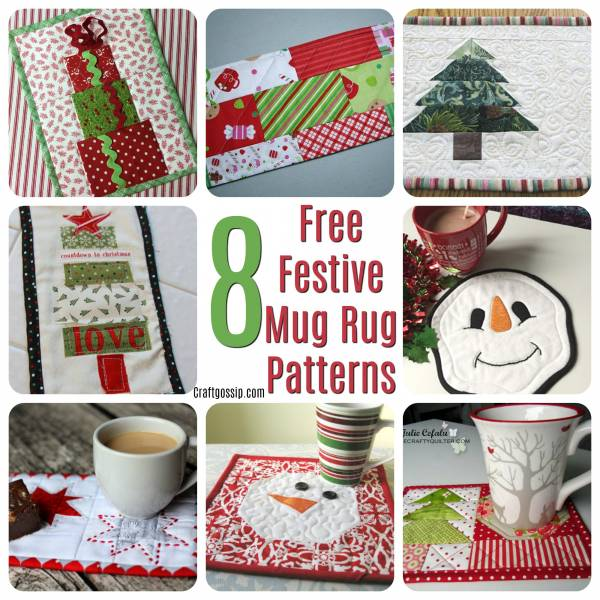8 Free Quilted Christmas Mug Rug Patterns – Quilting