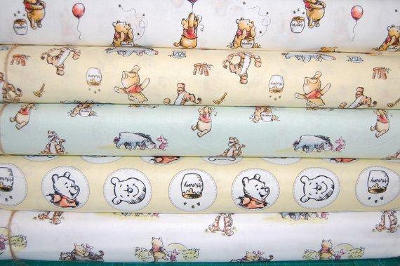 NEW Disney Classic Winnie The Pooh//Tiger//Piglet//Eeyore 100/% Cotton Sold By FQ