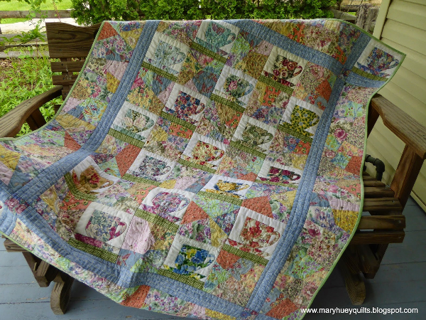 Teacups Quilt Embellished With Vintage Hankies Quilting