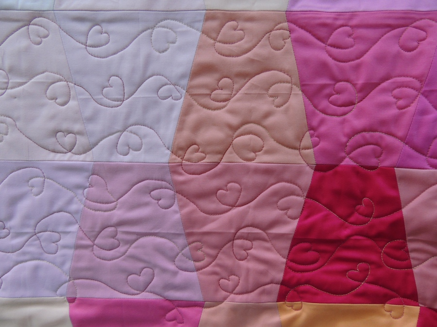 Pink Tumbling - Quilting Detail