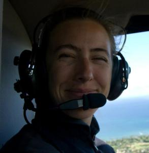 Yvonne (Quilting Jetgirl) in a Helicopter
