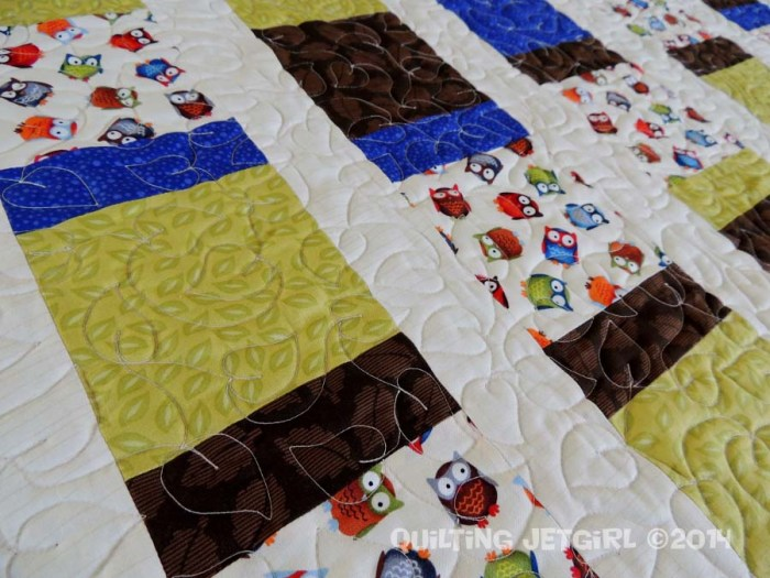 Owl City Baby Quilt - Quilting Detail