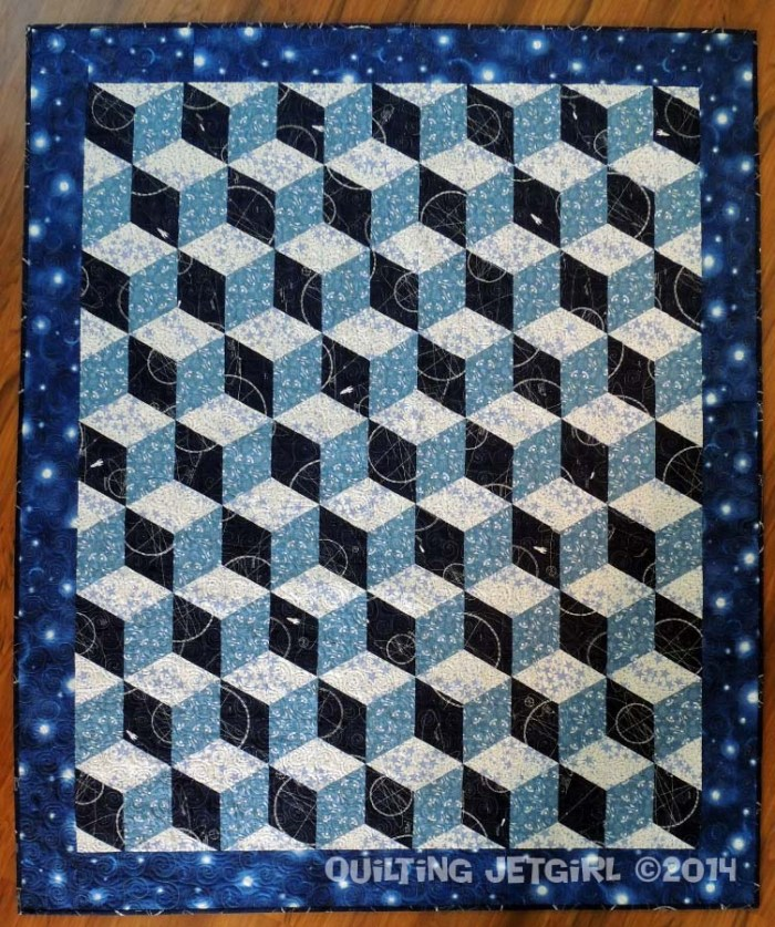 Space Age Tumbling Blocks - Completed Quilt