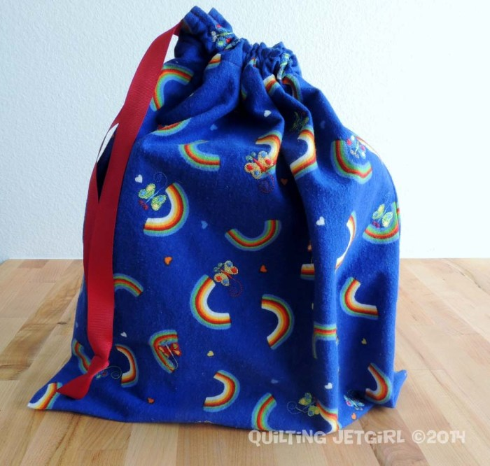 Flannel Rainbow and Butterfly Gift Bag