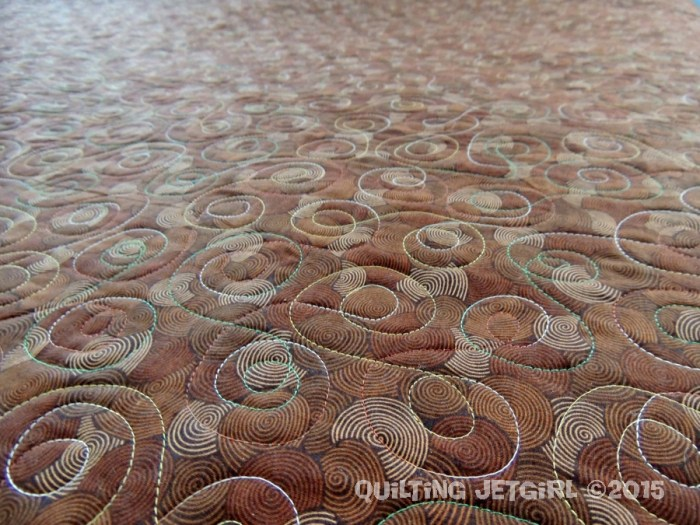 Tessellated Leaves - Backing Fabric and Quilting Detail